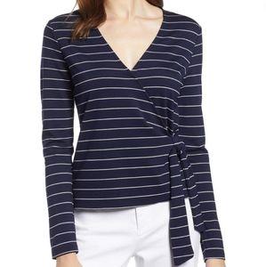 Halogen ballet wrap ponte knit top navy stripes 1X